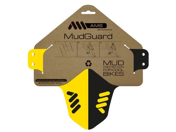 AMS Mud Guard Yellow and Black flat inside the packaging