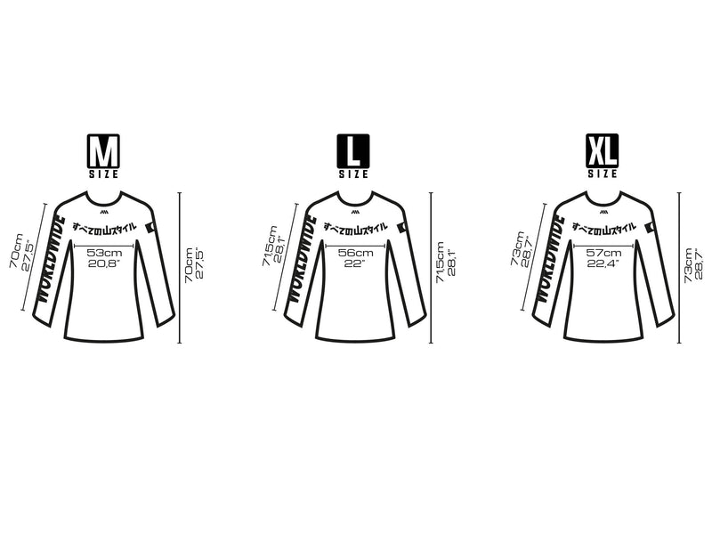 AMS Chikara riding jerseys size chart