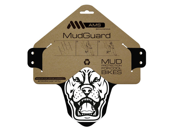 AMS Mud Guard with the pit bull design in the packaging