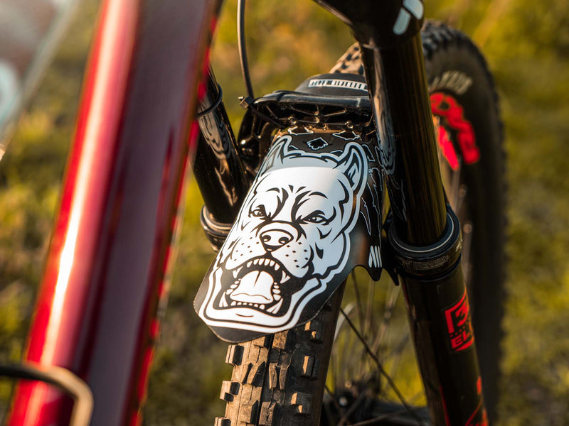 AMS Mud Guard with the pit bull in a bike