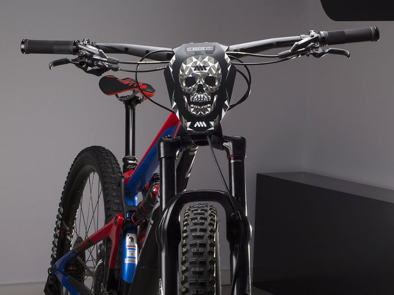 AMS Number Plate Skull on Enduro bike front view