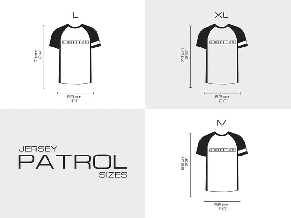 AMS Patrol short sleeve jersey sizing chart