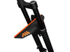 AMS Mud Guard Orange mounted on a mountain bike fork