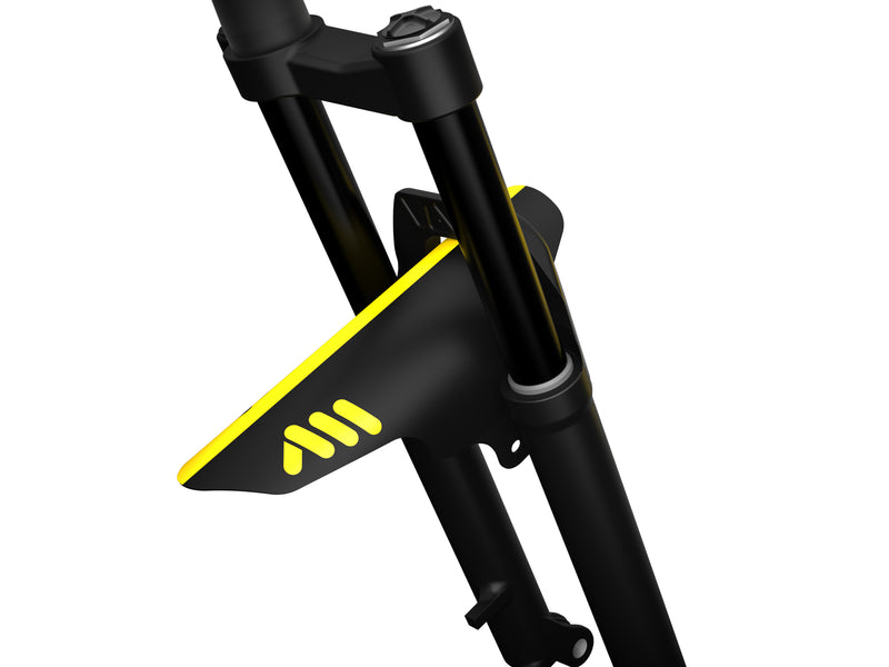 AMS Mud Guard Yellow mounted on a mountain bike fork