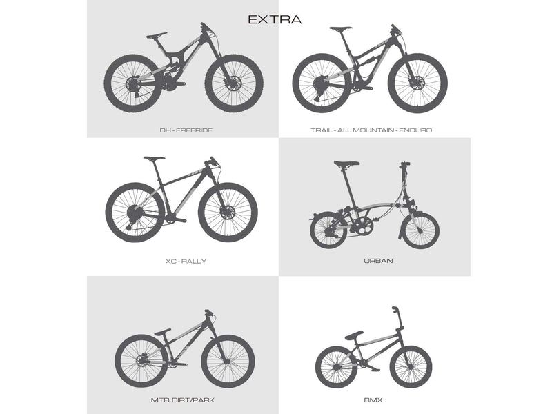 AMS bike guard extra size protection areas in different bike types