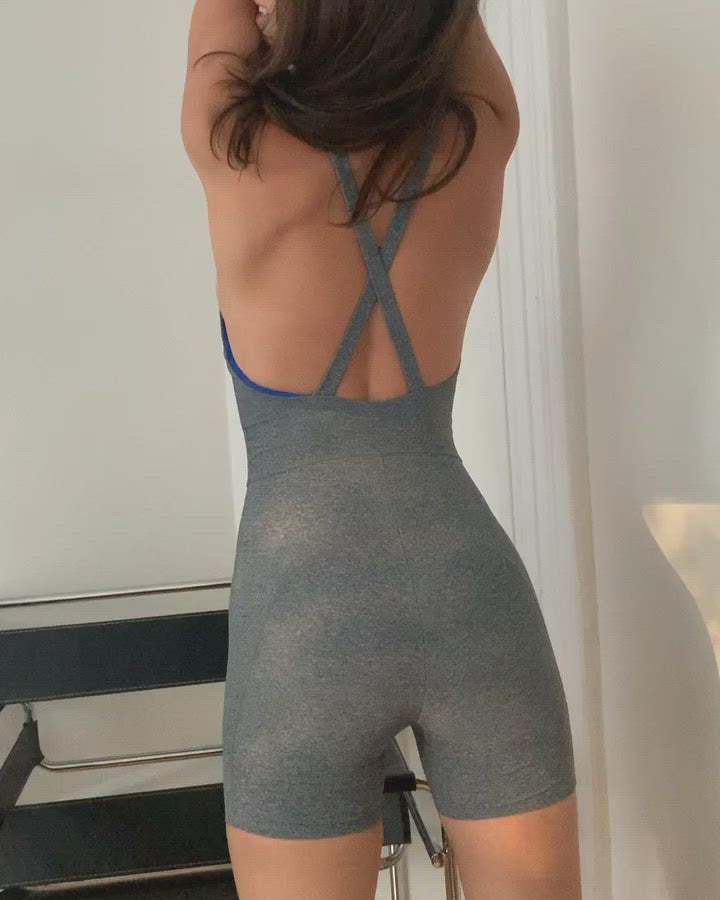Wear One's At Bike Short Unitard in Heather Grey on Model Video