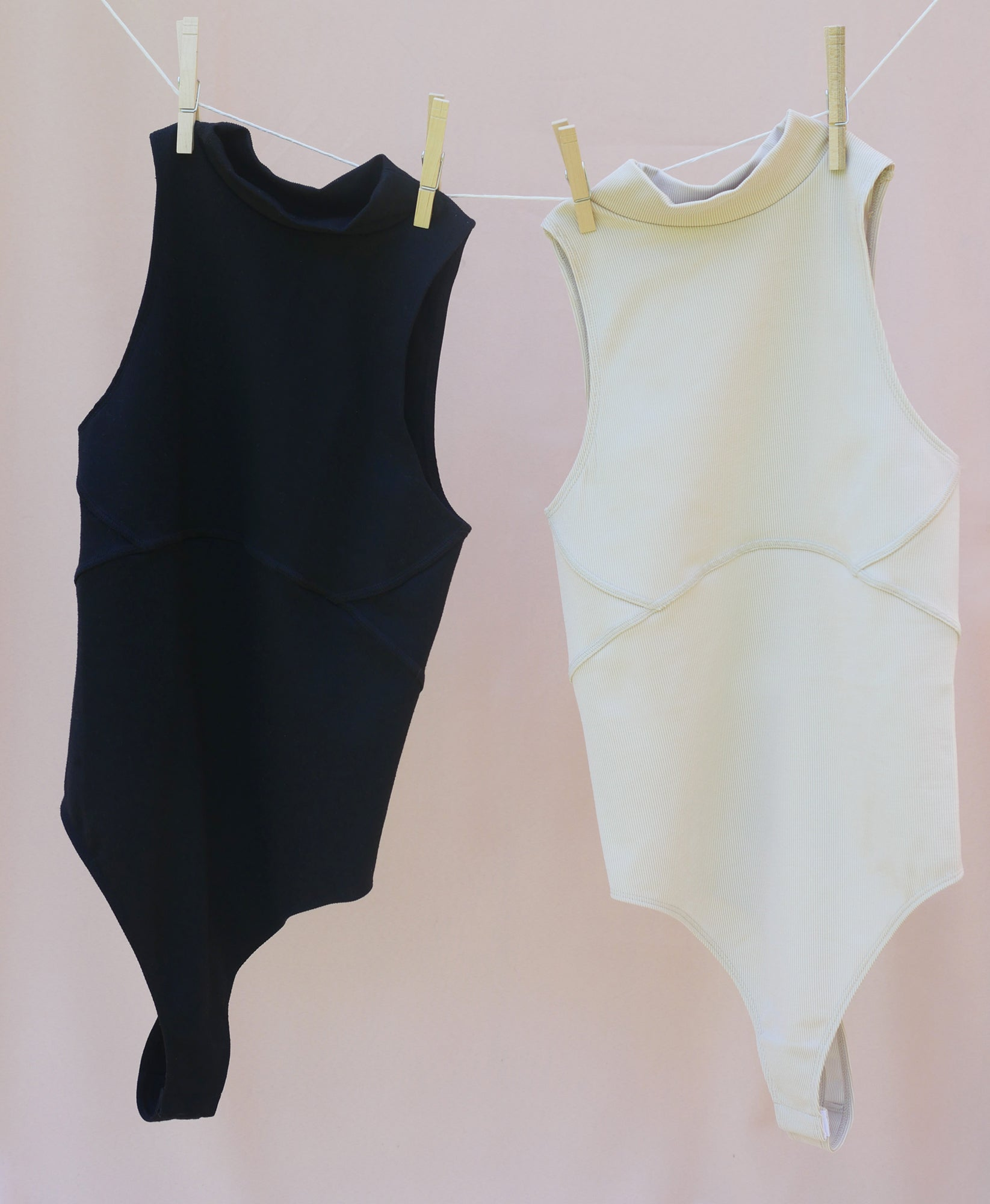Wear One's At Aerobic Rib Bodysuit in Jet and Oatmeal Flat Front
