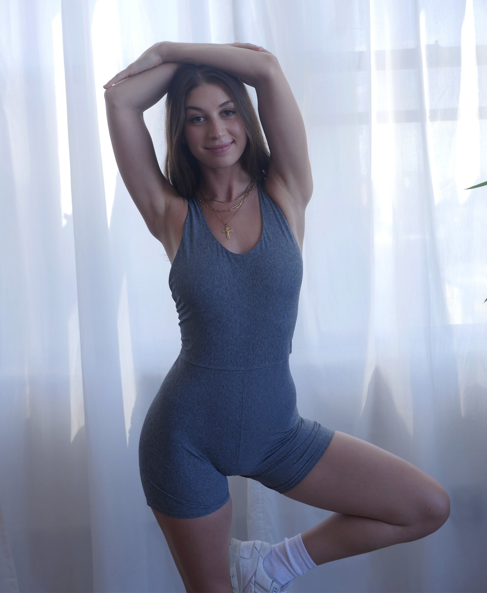 Wear One's At Bike Short Unitard in Heather Grey on Model Front View Second Look