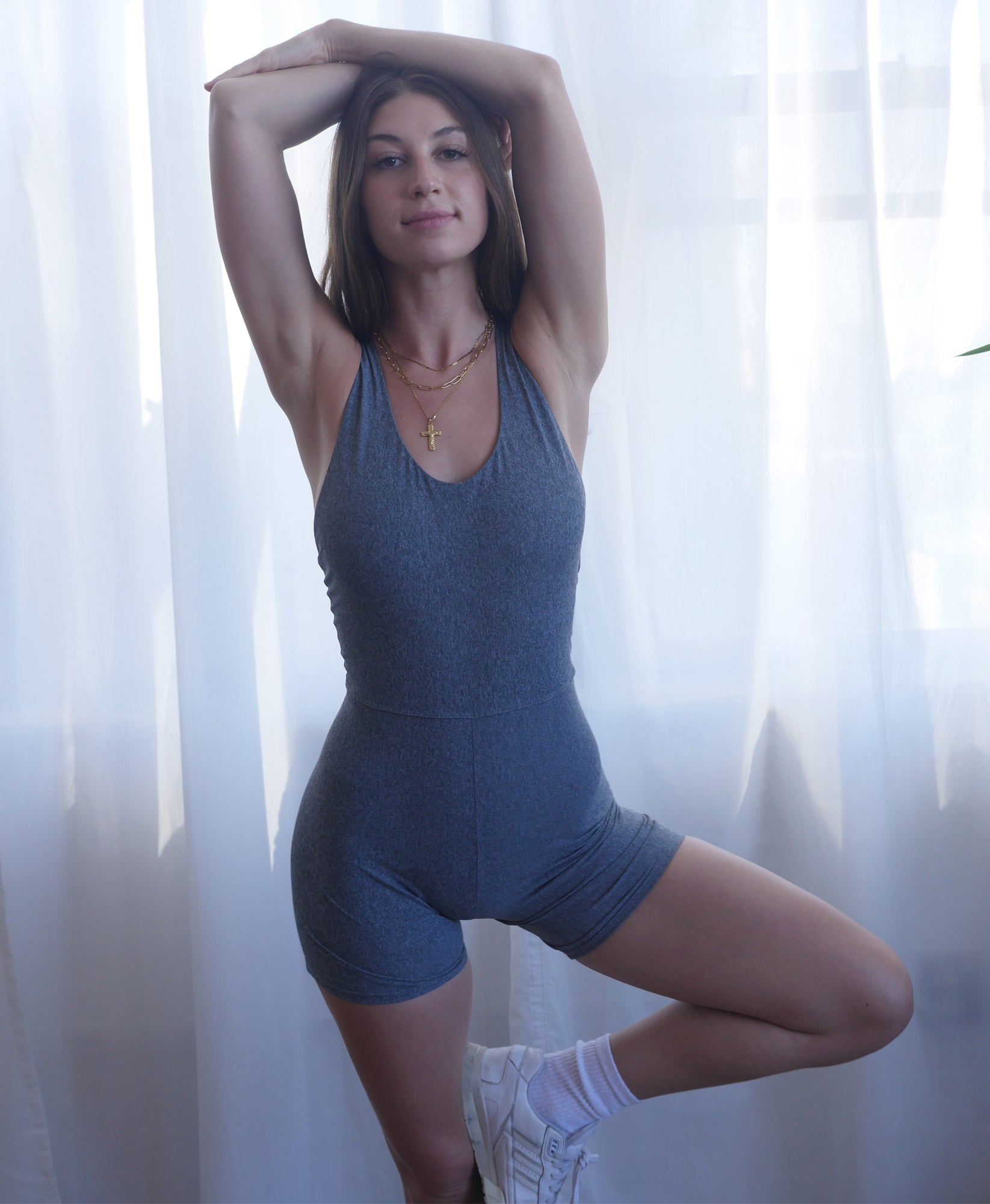 Wear One's At Bike Short Unitard in Heather Grey on Model Front View
