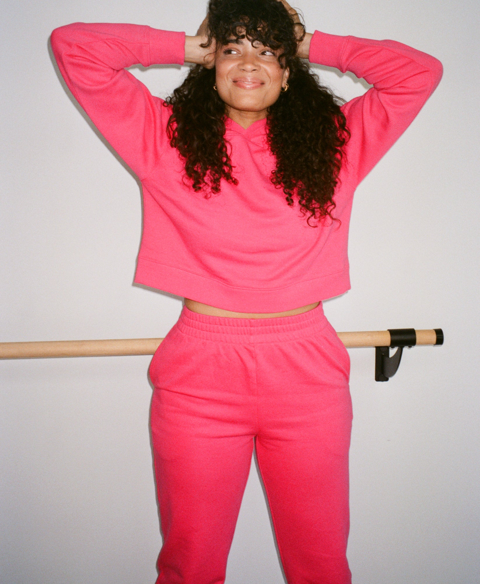 Wear One's At French Terry Cropped Hoodie in Watermelon on Model Front View
