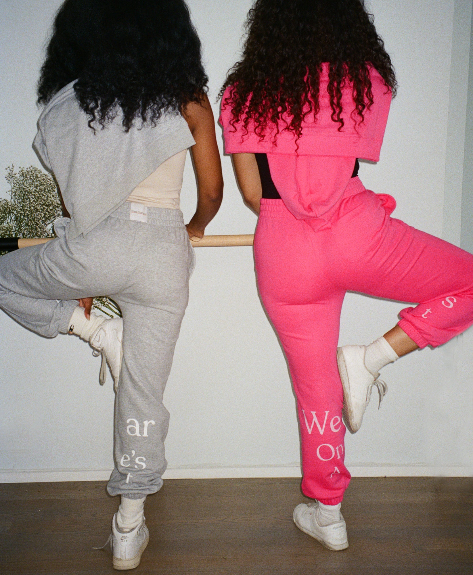 Wear One's At French Terry Sweatpants in Watermelon and Sport Grey on Models Back View