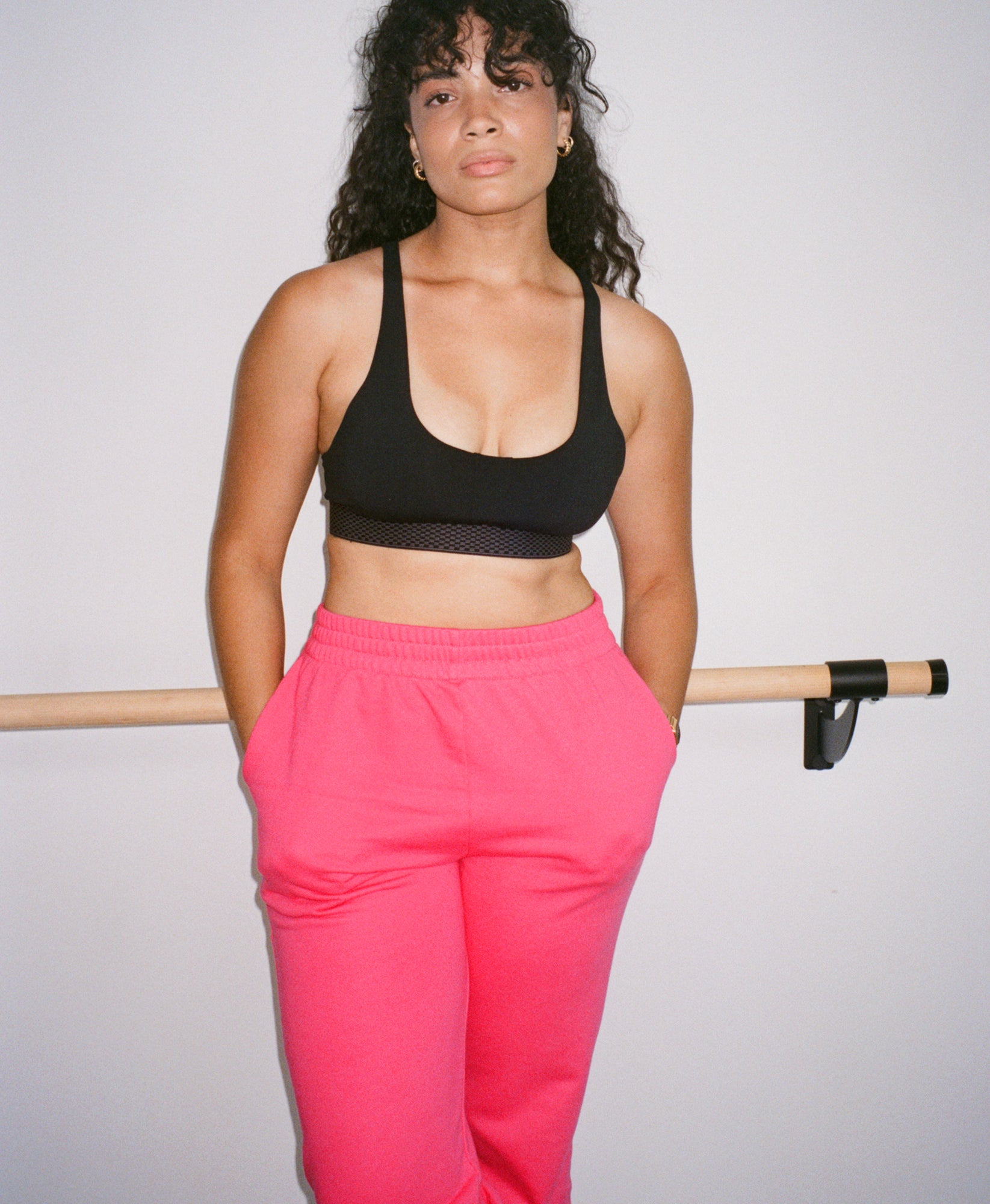 Wear One's At French Terry Sweatpants in Watermelon on Model Front View