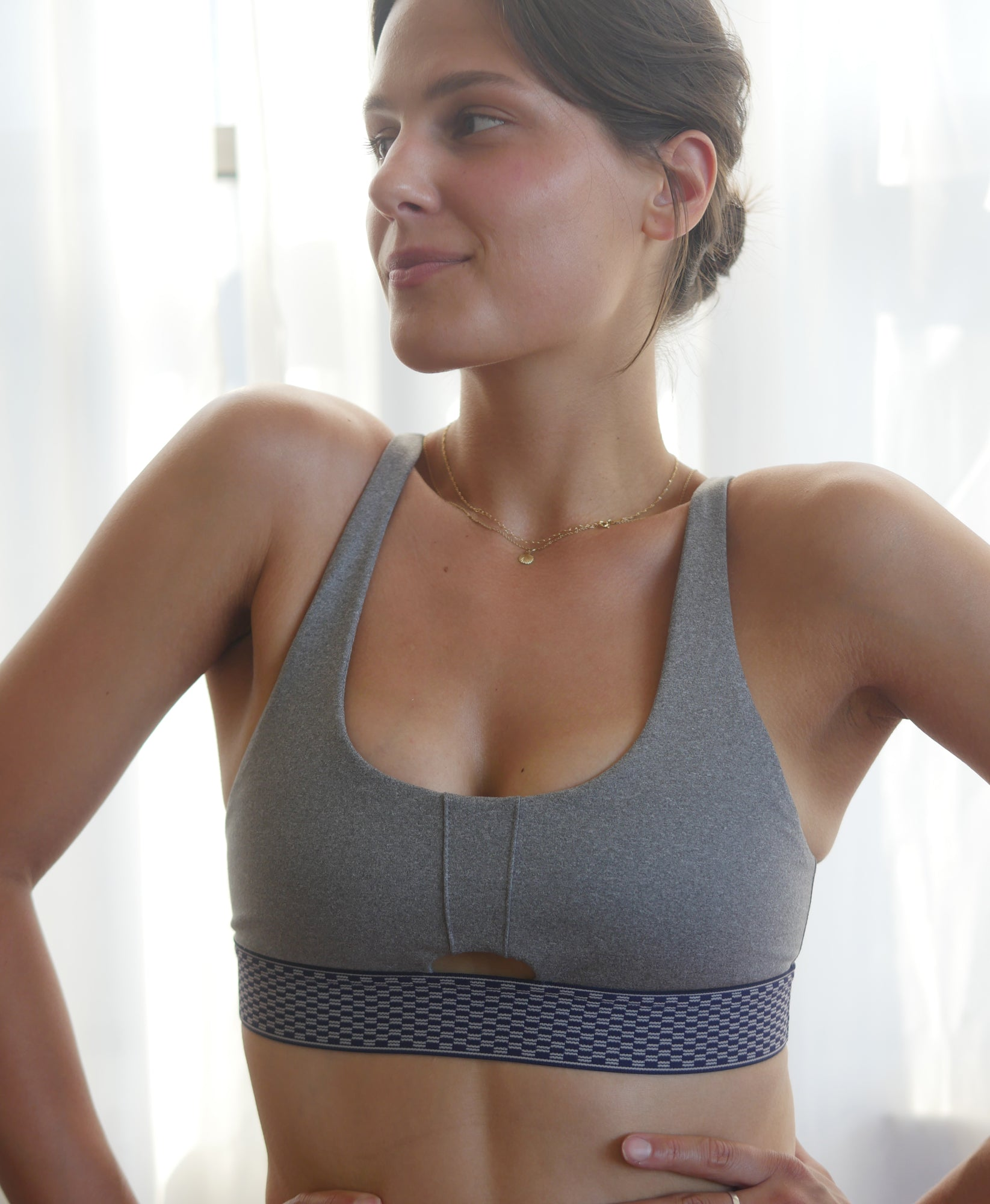 Wear One's At Keyhole Bra in Sport Grey on Model Front Detail View