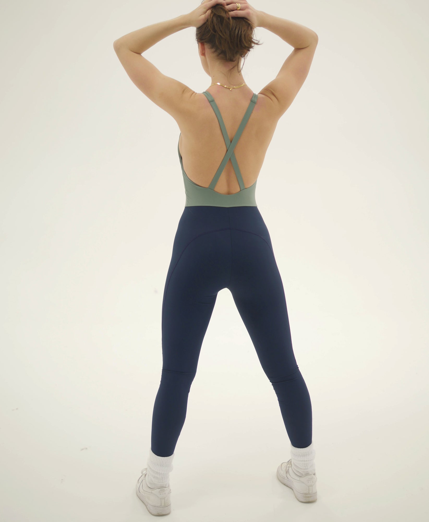 Wear One's At Liberty Unitard in Sage and Navy on Model Full Back View