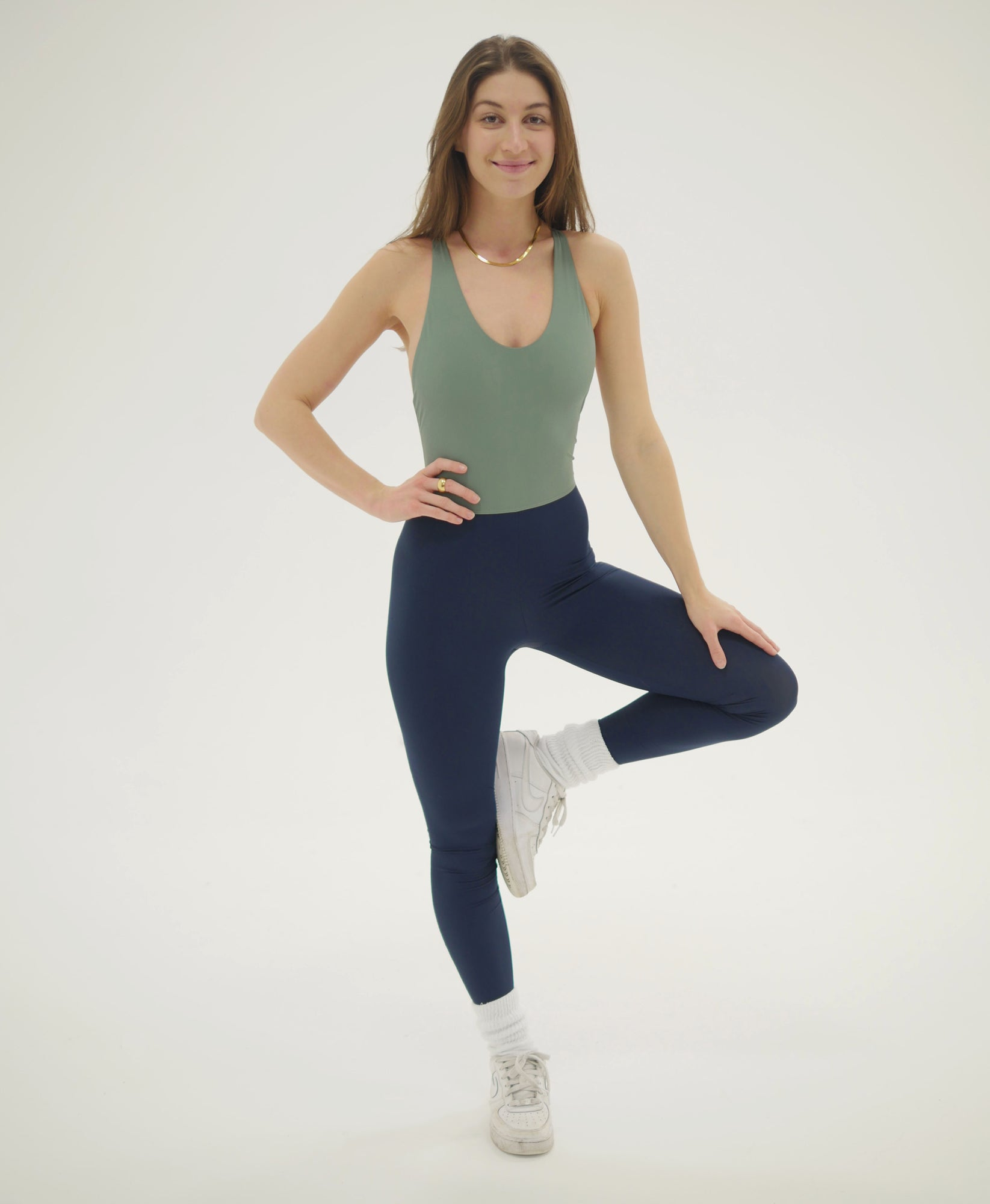Wear One's At Liberty Unitard in Sage and Navy on Model Full Front View