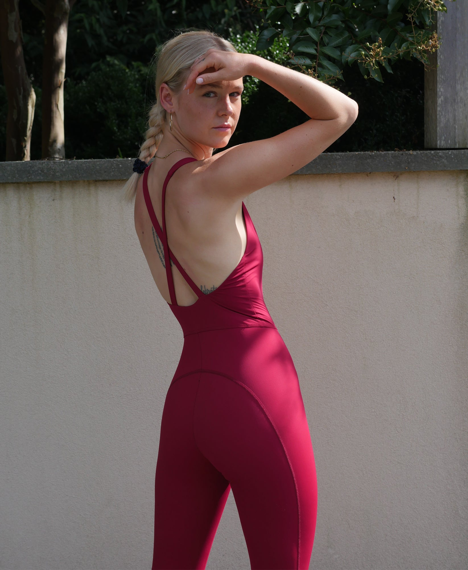 Wear One's At Liberty Unitard in Tango Red on Model Back Side View