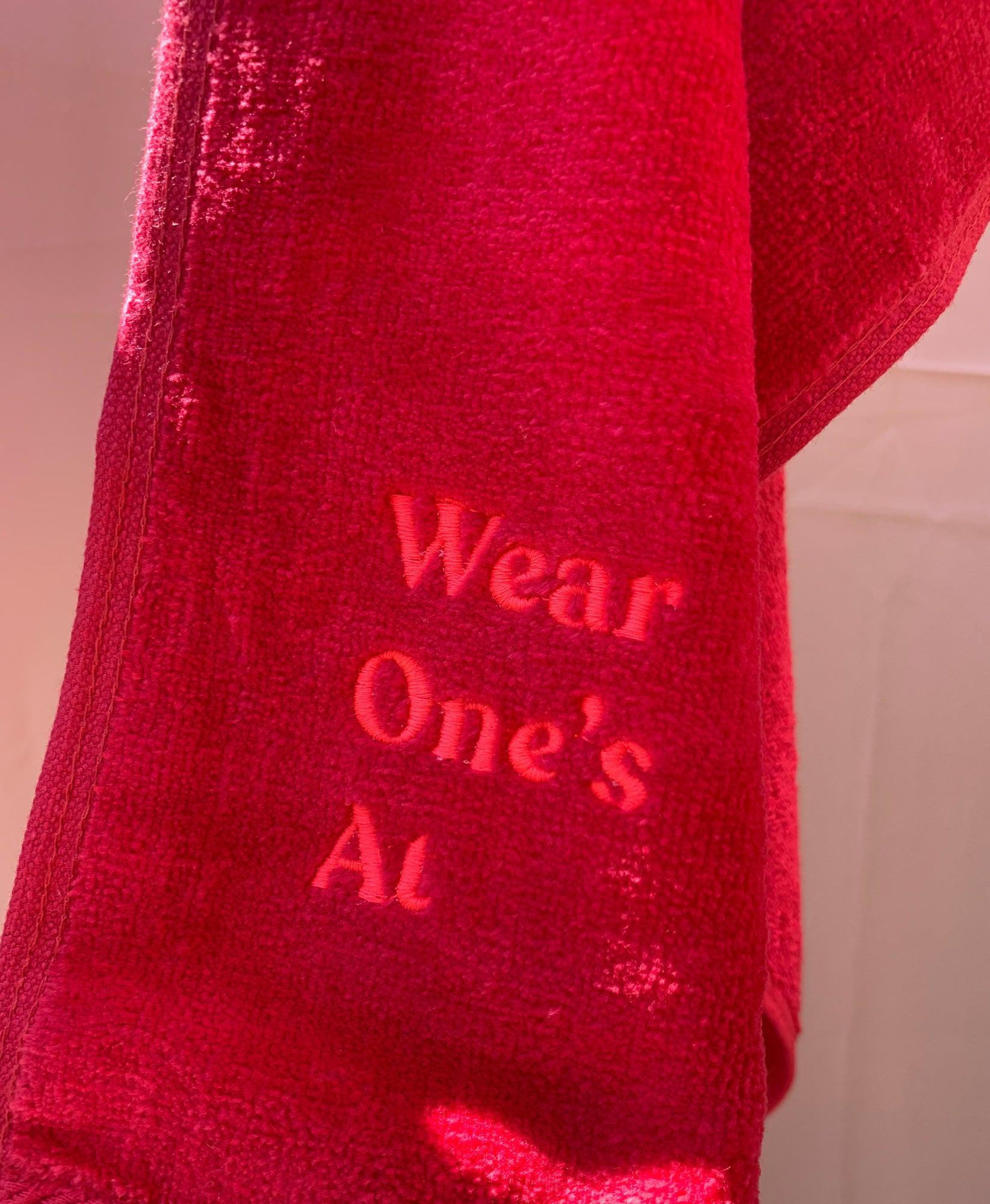Wear One's At Logo Sport Towel in Cherry Red Detail View