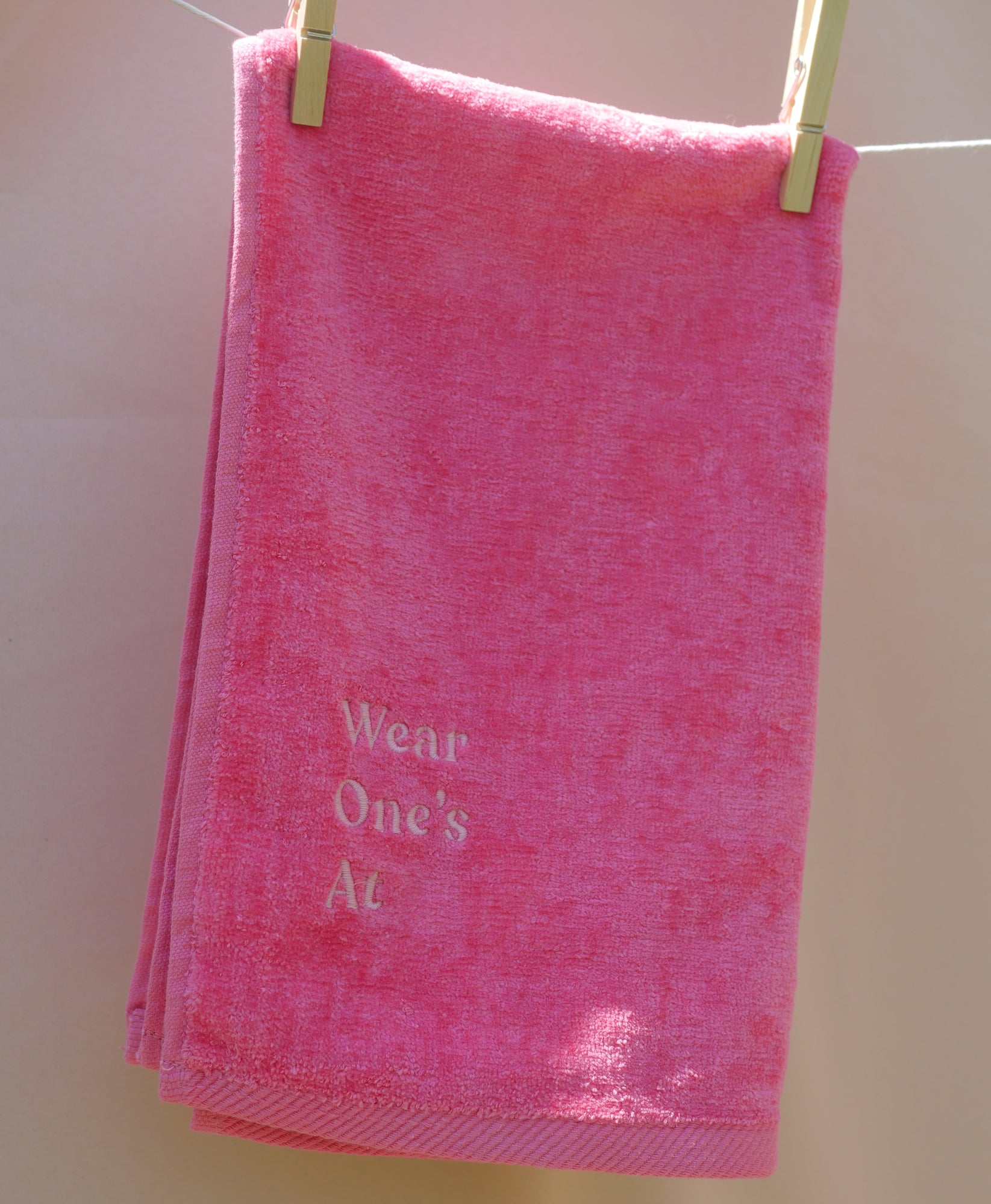 Wear One's At Logo Sport Towel in Punch Pink Full View