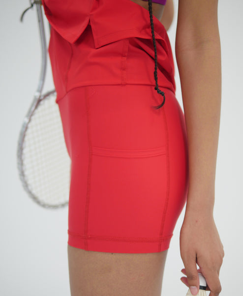Wear One's At Simple Skort in Scarlet on Model Full Front View