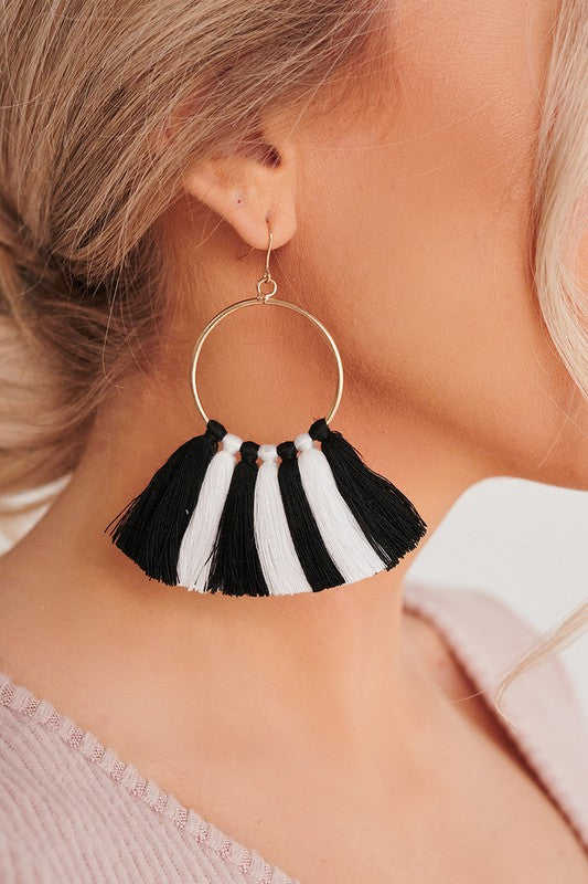 Zebra Tassel Earrings