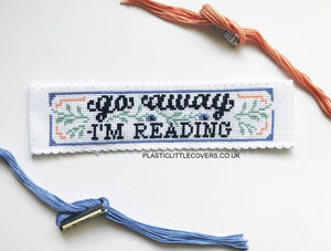 Go Away I'm Reading - Bookmark Cross Stitch Pattern PDF.