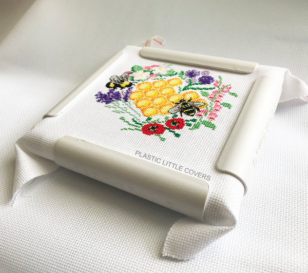 6 x 6 Inch Craft Frame. Plastic Clip Frame for Cross Stitch and Embroidery. Embroidery Hoop Alternative.