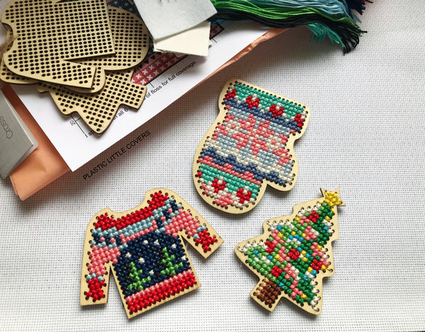 DIY Cross Stitch Christmas Decoration Kit.