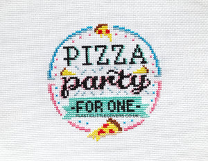 Pizza Party For One - Cross Stitch Pattern PDF.