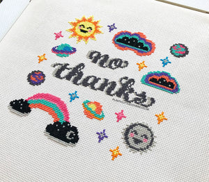 No Thanks - Cross Stitch Pattern PDF.