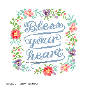 Bless Your Heart - Cross Stitch Pattern PDF.