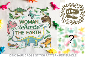 Dinosaur Pattern Bundle - 3 x Cross Stitch Pattern PDF's.