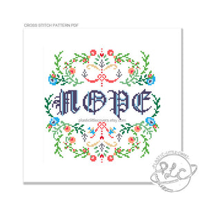Nope - Cross Stitch Pattern PDF.