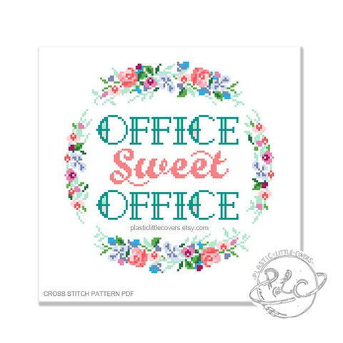 Office Sweet Office - Cross Stitch Pattern PDF.