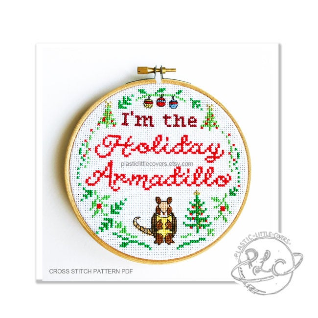 I'm the Holiday Armadillo - Cross Stitch Pattern PDF.