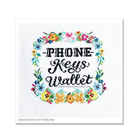 Phone Keys Wallet - Cross Stitch Pattern PDF.
