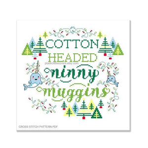 Cotton Headed Ninny Muggins - Christmas Cross Stitch Pattern PDF.