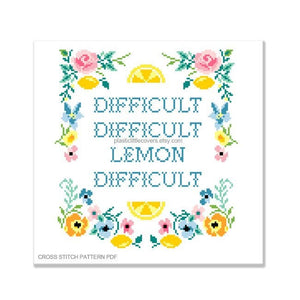 Difficult Difficult Lemon Difficult - Cross Stitch Pattern PDF.