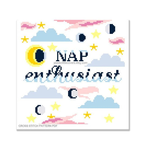 Nap Enthusiast - Cross Stitch Pattern PDF.