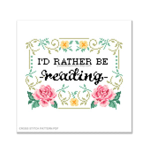 I'd Rather Be Reading - Cross Stitch Pattern PDF.