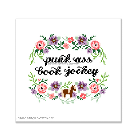 Punk Ass Book Jockey - Cross Stitch Pattern PDF.