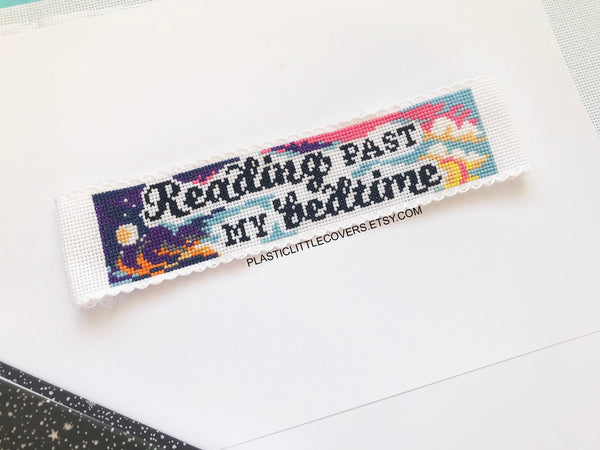 Cross Stitch Bookmark Kit - Reading Past My Bedtime.