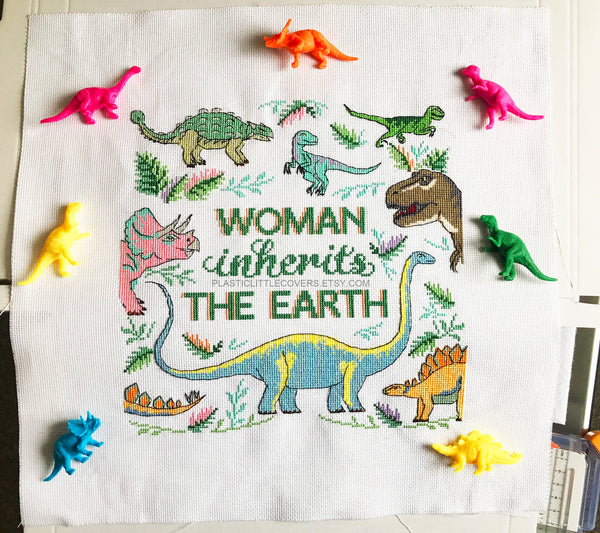 Woman Inherits the Earth - Dinosaur Cross Stitch Pattern PDF.