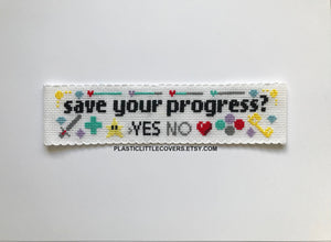 Save your progress? - Bookmark Cross Stitch Pattern PDF.