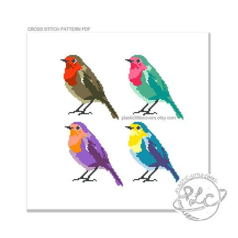 Pop Art Robins - Cross Stitch Pattern PDF.