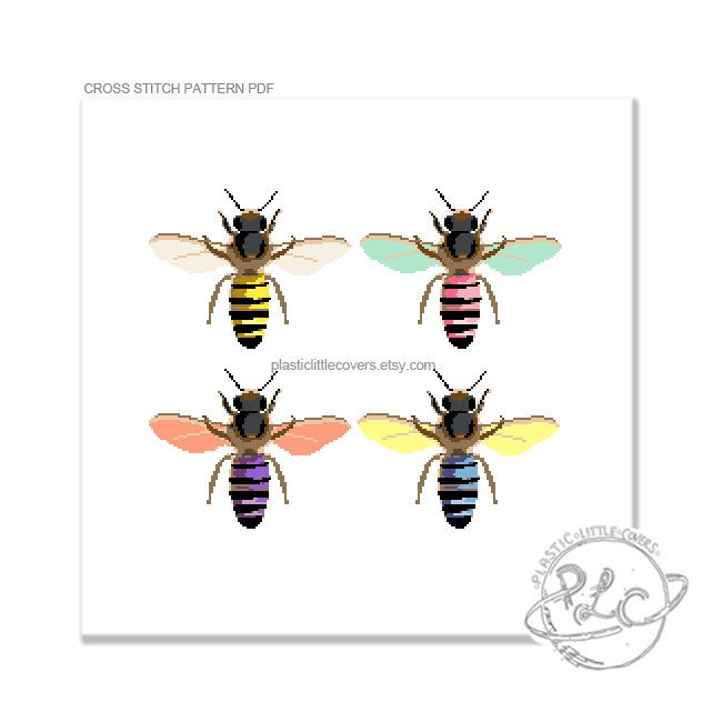 Pop Art Honey Bees - Cross Stitch Pattern PDF.