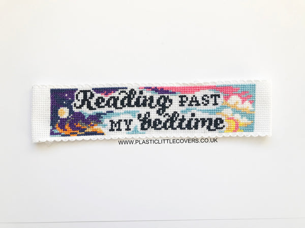 Reading Past My Bedtime. Bookmark Cross Stitch Pattern PDF.