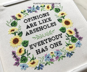 Opinions Are Like Arseholes - Cross Stitch Pattern PDF.