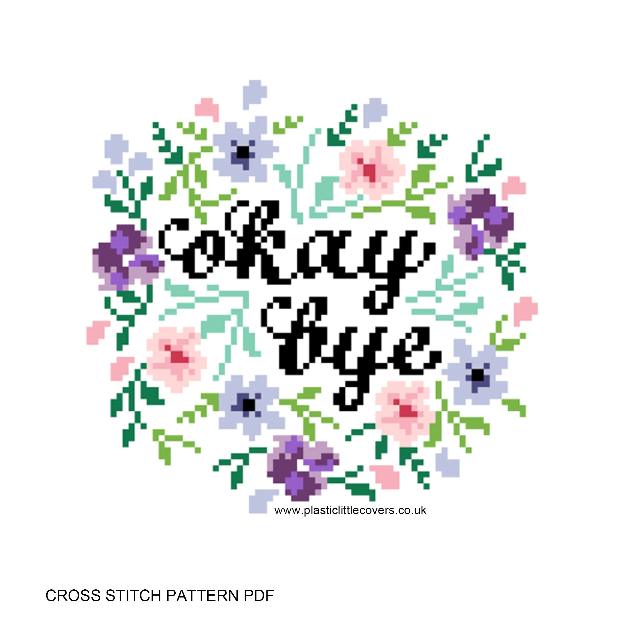 Okay Bye - Cross Stitch Pattern PDF.