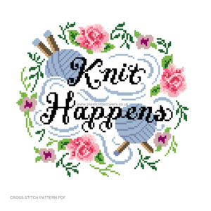 Knit Happens - Cross Stitch Pattern PDF.