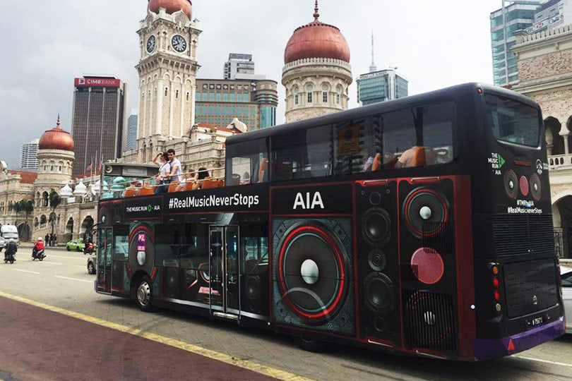 hop on hop off, outdoor advertising, transit advertising, tourist attraction, mobile ads marketing, AIA